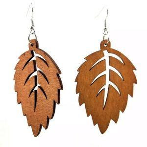 Avery Wood Leaf Laser Cut Earrings